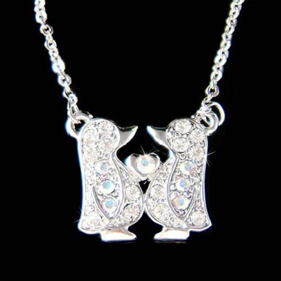Dainty Swarovski Crystal Baby Emperor Penguin Lover Heart Love  19fb07c06