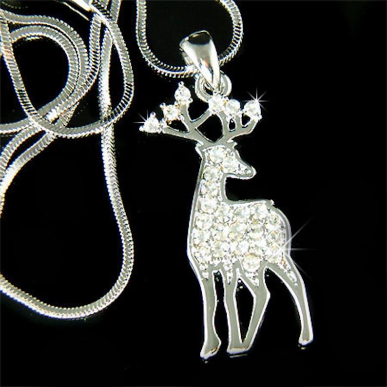 bd9b6b3c4 Swarovski Crystal Bull ELK Hunt Hunting Antlers deer Pendant | Etsy