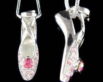 Swarovski Crystal Pink BALLERINA Ballet Dance Shoes Slippers Charm Pendant Necklace Christmas Gift