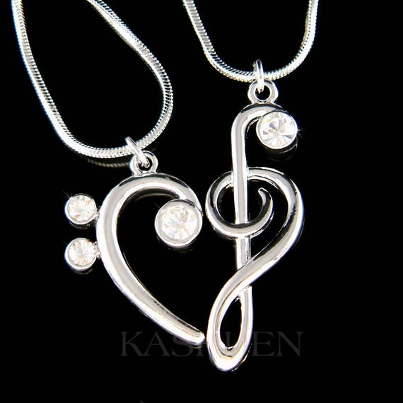 Beautiful Blue Crystal Treble G Clef and Violin Music Note Pendant Necklace