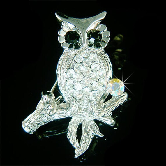 ~Wisdom Owl~ Made with Swarovski Crytal Cute Wise Smart Teacher Student Earrings