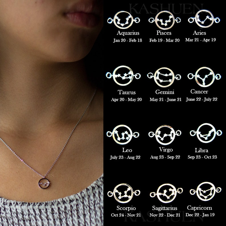 Dainty Constellation Necklace Cubic Zirconia Diamonds Sterling Silver CZ Celestial Zodiac Layering Chain Bridesmaids Teenager Wife BFF Gift