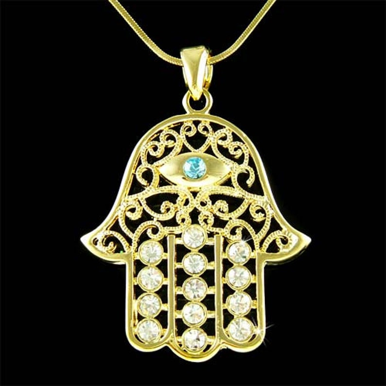 ee72acd42fb60 Big w Swarovski Crystal Jewish Hamsa Hand Hamesh Evil Eye Gold Plated  Necklace
