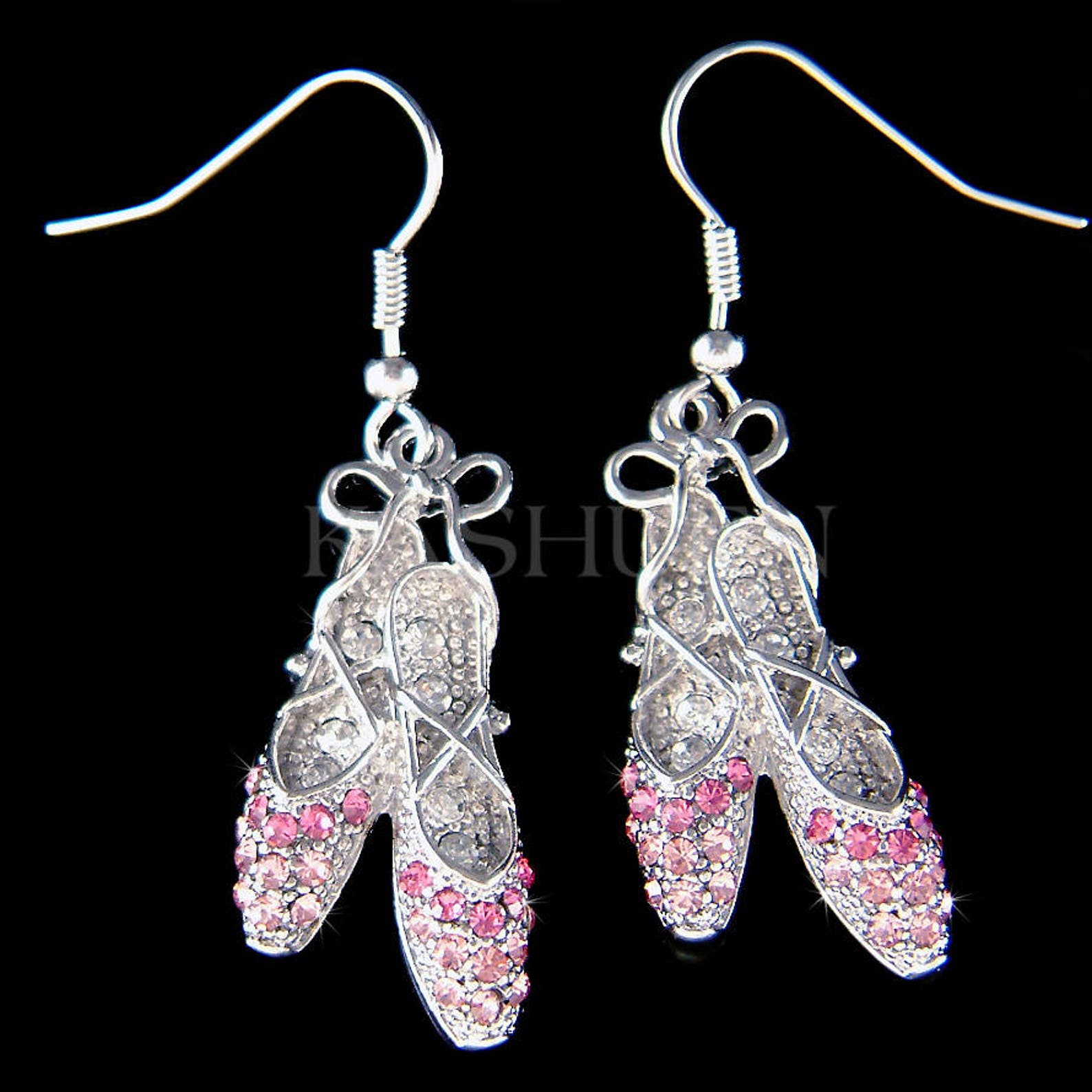 pink swarovski crystal ballerina shoes slippers ballet dance pierced earrings jewelry christmas gift new for the nutcracker swan