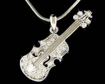 Swarovski Crystal Violin Viola Cello Fiddle Musical Charm Pendant Necklace Christimas Best Friend Musican Gift  New