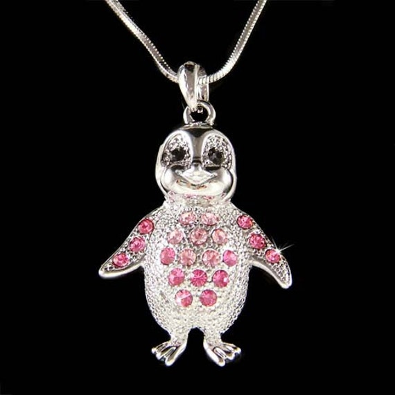 tienda diseño exquisito sombras de Cristallo Swarovski rosa Antartide Pinguino imperatore Collana ciondolo  carino nuovo