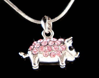 Dainty Swarovski crystal Pink 3D Double sided Cute Pig Piggy Piglet Pendant Necklace