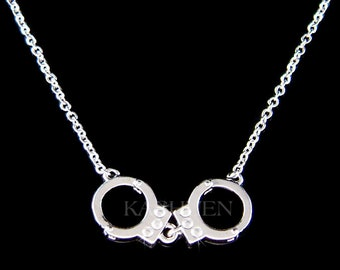 Swarovski Crystal Dainty Moveable Handcuffs Handcuff Naughty Costume Celebrity Halloween Chain Necklace Jewelry Best Friend Christmas Gift