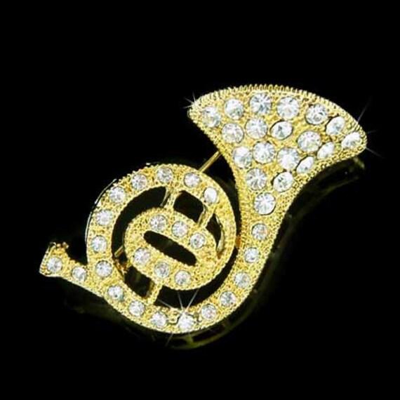swarovski kristall messing french horn trompete kornett gold. Black Bedroom Furniture Sets. Home Design Ideas