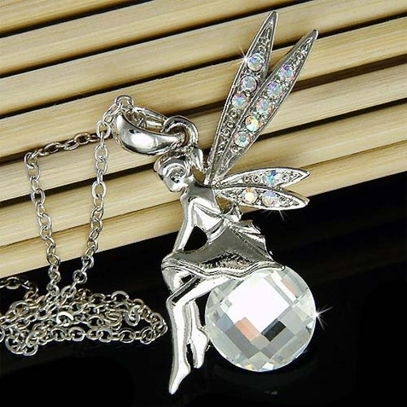 Fairy Pendant Necklace Ball Chain Tinkerbell Style Crystal Wing Rhinestone