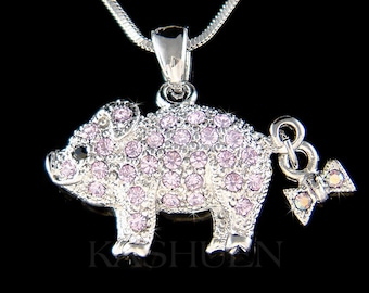 Swarovski crystal Cute Violet Purple Pig Piggy Piglet Bow Barn Animal Lover Charm Chain Necklace Jewelry Christmas Mom Best Friend Gift New