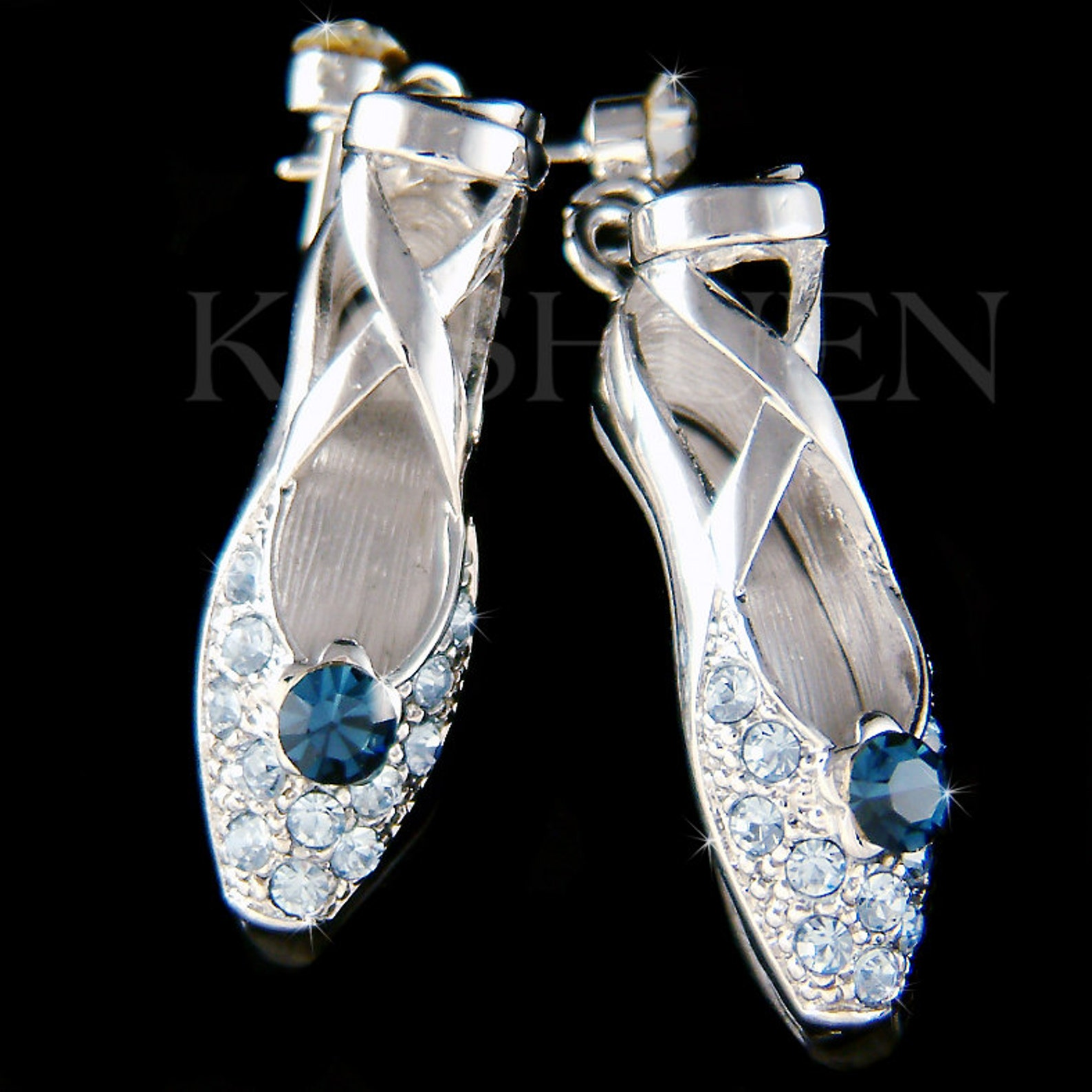 swarovski crystal blue ballerina shoes slippers ballet dance stick earrings jewelry christmas gift new for the nutcracker swan l