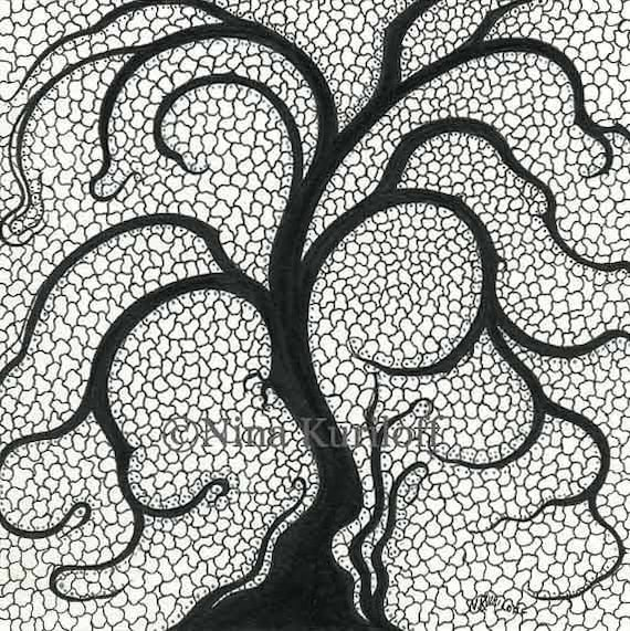 Original Art Tree Design Drawing Cells Abstract Nonobjective Etsy