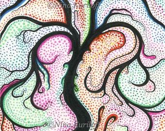 ORIGINAL Fine Art Colorful Surreal Fantasy Tree Dots Small Drawing Wall Decor 6 x 6