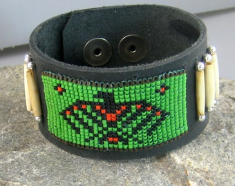 Beaded leather cuff, mans beaded leather bracelet, Native American thunderbird bracelet, green and black beadwork jewelry, Biker adornment