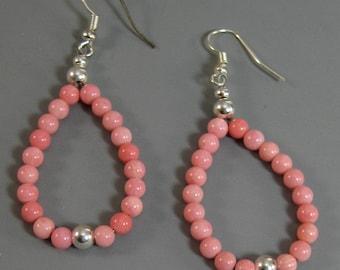 Native American  Earrings, Pink Beaded Hoop Earrings, Teardrop Earrings. Bamboo coral, Tribal Earrings, Fashion Statement Earrings, for her