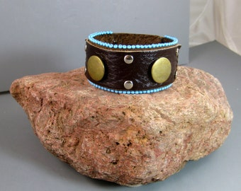 Unisex Cuff with brass accents, Upcycled Belt Bracelet, Southwestern Style, Native American, Brown Leather Bracelet, Turquoise Beads, Bohos