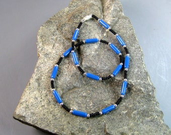 Blue, black and silver beaded necklace, mans necklace, heishe necklace, menswear jewelry, surfer necklace, guys adornment, southwest design