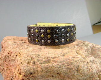 Unisex Cuff with brass accents, Upcycled Belt Bracelet, Southwestern Style, Native American, Brown Leather Bracelet