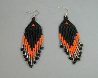 Black, orange, and silver Native American style beaded earrings, brick stitched earrings, beaded earrings, pow wow earrings, boho jewelry,