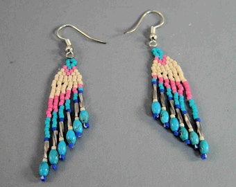 Festive Indian Weave Earrings, Wing pattern earrings, Pink and white adornment, Pow wow regalia, Turquoise jewelry, Sterling silver gift,