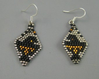 Native American Thunderbird Earrings, Earrings in black, silver, and gold. American Indian bead weaving, Diamond shaped, Bead work earrings