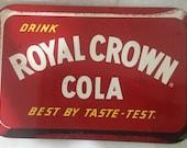 Vintage Original Royal Crown RC Cola Soda Flange Double Sided Sign