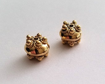 Small Round Vermeil Beads with Rope and Dots 7mm
