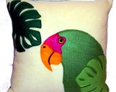 Green Amazon Parrot Tropical Felt Throw Pillow