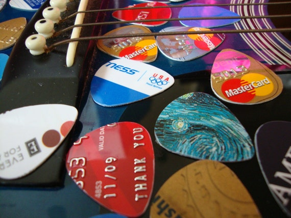 items similar to sale 10 recycled guitar picks on etsy. Black Bedroom Furniture Sets. Home Design Ideas