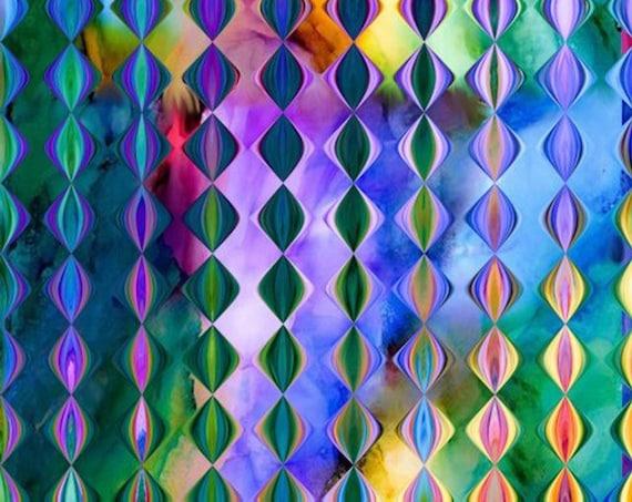 Blue Purple Bright Bold Colors Artist Handmade Crepe De Chine Caftan Fabric Diamond Apparel Sheer Home Decor
