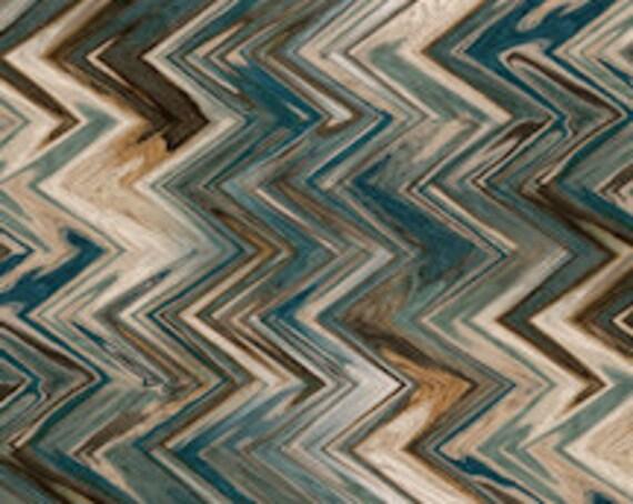 Designer Fabric Abstract  BlueZIG ZAG Handmade Velvet Upholstery Fabric