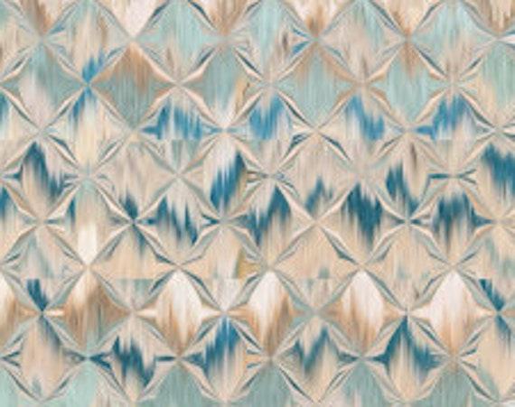Designer Fabric Abstract Blue Gold Cream Stripe Handmade Velvet Upholstery Fabric