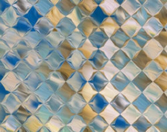 Velvet Upholstery Fabric Diamond Blue Cream Fiber Art Fiber Art