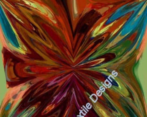 Artisan Handmade Velvet Upholstery Fabric Interior Decorating Abstract Large Flowers Design