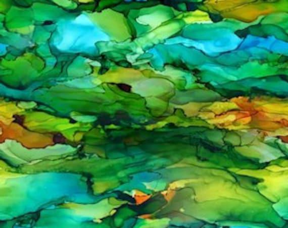 Blue Green Gold Handmade Artisan Textile Art Velvet Upholstery Fabric Fiber Art Fabric Layers Stone