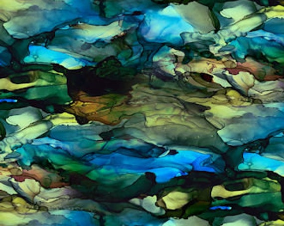 Artist Watercolor Rocks Blue Made Cotton Canvas Commercial Grade Upholstery Fabric Abstract Fiber Art