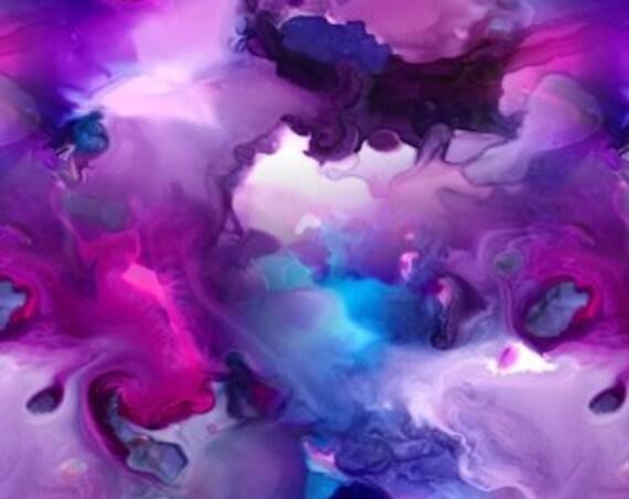 Purple Pink Clouds Handmade Brown Turquoise Velvet Upholstery Fabric Fiber Art