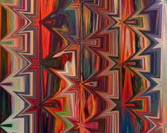 Artisan Cotton Canvas Fabric Colorful Geometric Fiber Art Upholstery Home Decor Cushion Chair