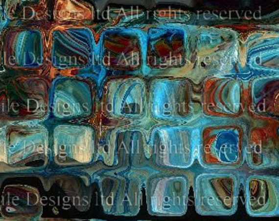 Artist Made Cotton Blue Bubble Glass Upholstrey Canvas Fabric Panel Cushion Ottoman Re Cover Fiber Art
