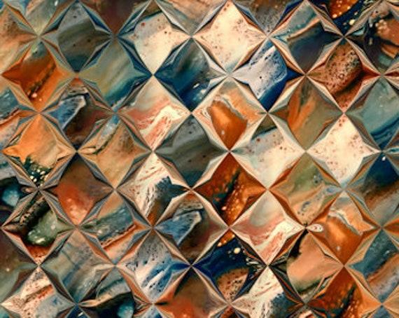 Velvet Upholstery Fabric Diamond Rust Blue One of a Kind Handmade Commercial Grade Fabric Fiber Art