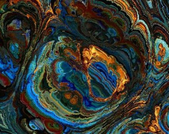 Hand Created Blue Agate Velvet Upholstery Fabric Fiber Art Modern Fabric