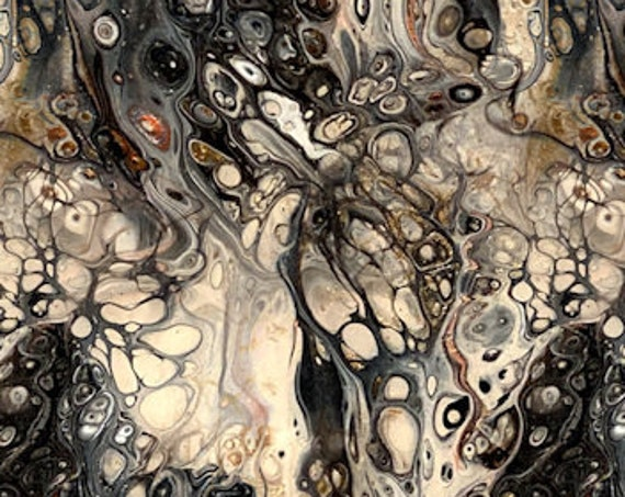 Artist Made Canvas Fabric Panel Abstract Black Beige Cells Fiber Art