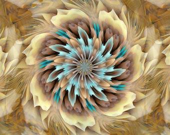 Kaleidoscope Handmade Tan Golden Turquoise Velvet Upholstery Fabric Fiber Art Modern Fabric