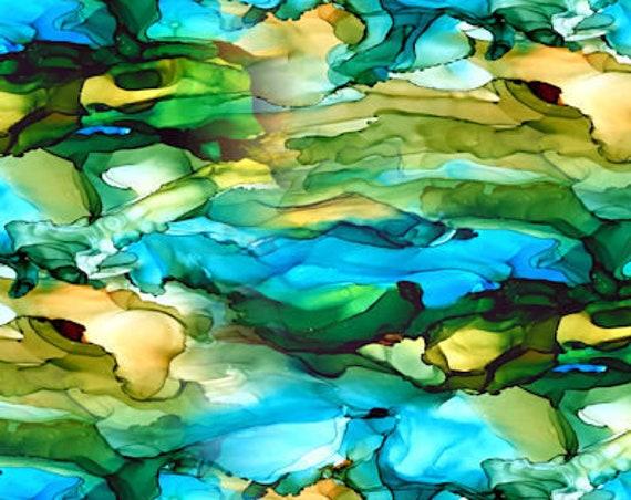 Blue Green Golden Watercolor Handmade Artisan Textile Art Velvet Upholstery Fabric