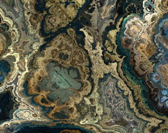 Marble Agate Modern Artist Created Lycra Knit Fabric By The Yard Athletic Apparel Swimwear