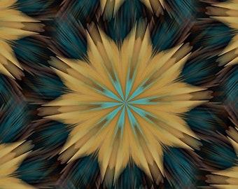 Flower Blue Kaleidoscope Artist Created Lycra Knit Fabric By The Yard Athletic Apparel Swimwear Swim Suit