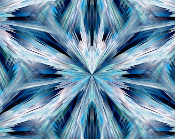 Blue Ice Northern Star Handmade Artisan Textile Art Velvet Upholstery Fabric Fiber Art