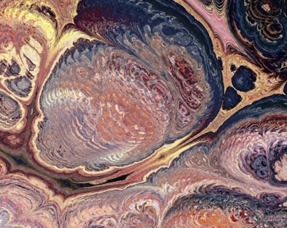 Hand Created Marble Burgandy Pink Velvet Upholstery Fabric Fiber Art Modern Fabric