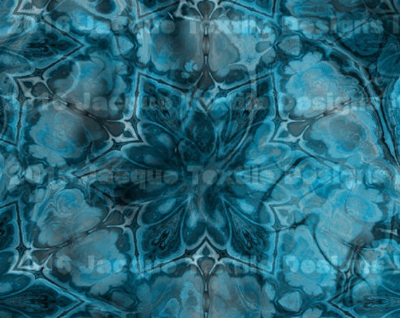 Blue Layers Kaleidoscope Fashion Textile Artist Hand Created Jersey Spandex Knit Gears Colorful Fabric